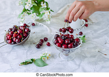 Fresh cherry fruit in glass vase, other dishes with berries and jar with jasmine and wildflowers on the light marble table. Female hand taking berries. Soft selective focus.