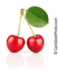 fresh cherry fruits with green leaves isolated on white...
