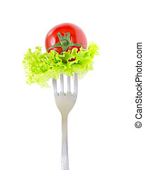 Fresh Cherry Tomato on Fork Isolated at White Background