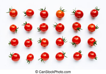 Fresh cherry tomatoes on white