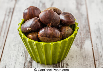 Fresh Chestnuts in Colorful Cups