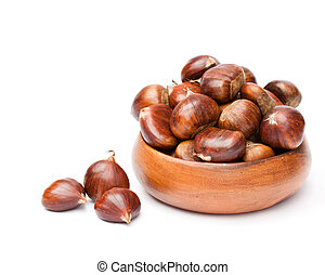 fresh chestnuts in wooden bowl on white background