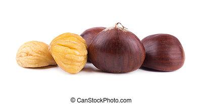 Fresh chestnuts with peeled roasted chestnut isolated on white background. Hippocastanum isolated. Isolated chestnut set with clipping path