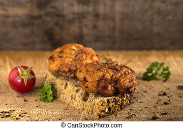 Fresh chicken meatball sandwich