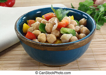fresh Asian chick pea salad with peppers, scallions and cilantro