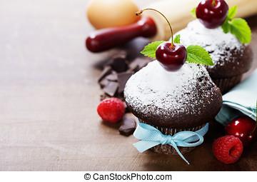 fresh chocolate muffins