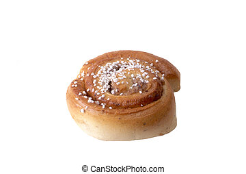 Fresh cinnamon bun closeup on white background