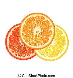 Fresh citrus fruit isolated on white background