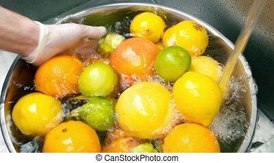 Fresh citrus fruits. Lemon, lime and orange.