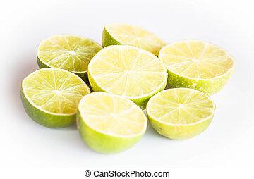 Fresh citrus lime half portion slice on white background