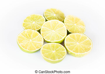 Fresh citrus lime slice on white background