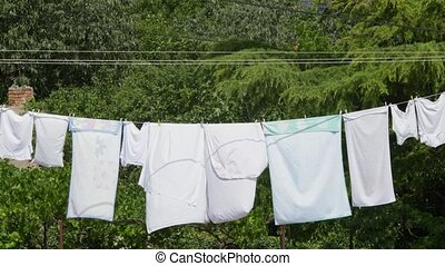Fresh clean clothes are drying outside in the garden closeup...