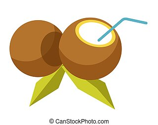 Fresh cocktail inside coconut with straw isolated illustration