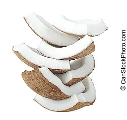 Fresh coconut pieces isolated on a white background. Pyramid.