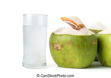 fresh coconut water with coconut - fresh coconut water in...