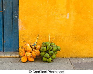 Fresh coconuts in the street of Cartagena, Colombia