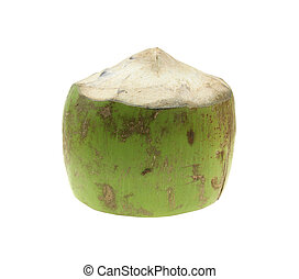 Fresh coconuts on white. Tropical fruit fresh coconut