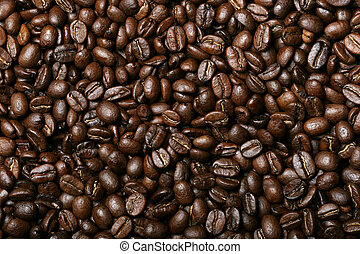 Background of delicious freshly roasted coffee beans