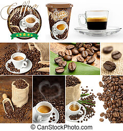 fresh coffee collage - collection of images of coffee beans...