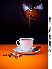 Fresh coffee cup filling from coffeepot
