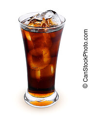 fresh coke in the glass isolated on a white background