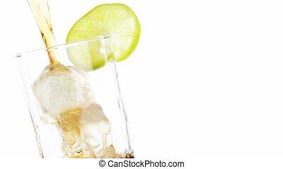 fresh coke with lime slice