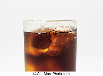 Fresh cola in glass on white background.