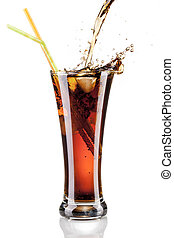 fresh cola juice and ice cubes splash in a glass on white background