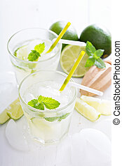 Fresh cold lime lemonade with mint