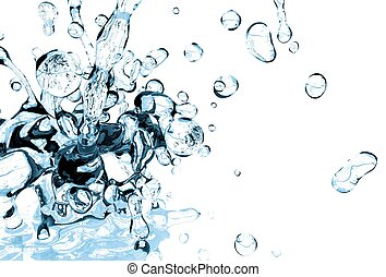 Fresh Cold Water Splash on White Solid Background. 3D...
