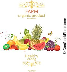 fresh collection of delightful fruits on white background for yo