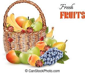 Fresh color fruit in basket. Concept of diet. Vector illustration