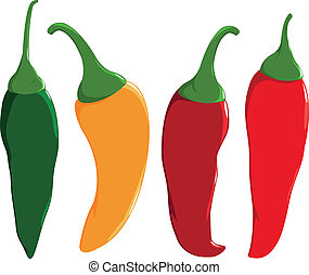 Fresh colorful hot chili peppers