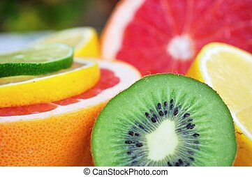 Fresh colorful tropical fruits