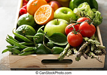 Fresh colorful vegetables and fruits