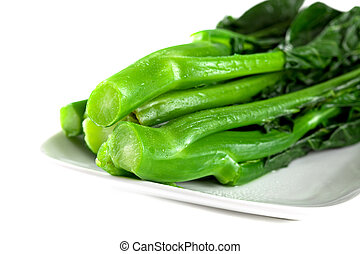 Fresh Coocked Chinese Green Vegetables, Chinese Broccoli Isolated; Closeup