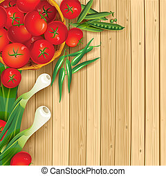 Fresh Cooking - illustration of fresh vegetables on wooden...