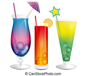 Fresh cooling exotic cocktails - Fresh cooling bright exotic...