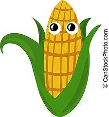 Fresh corn, illustration, vector on white background.
