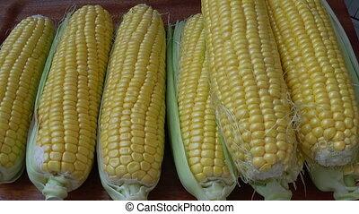 Fresh corn on the cob kernels