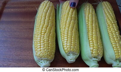 Fresh corn on the cob kernels