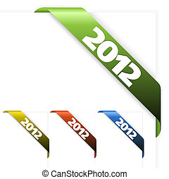 Fresh corner ribbon on a white paper with 2012