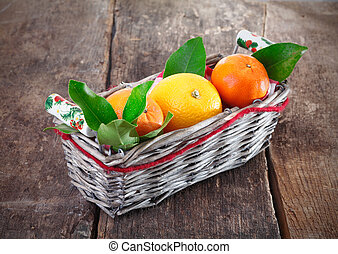 Fresh country oranges in basket