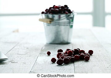 Fresh cranberries in a silver bucket