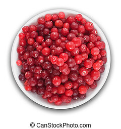 fresh cranberries on a plate