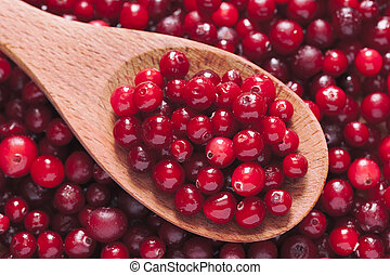Fresh cranberry in a wooden spoon