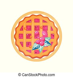Fresh cranberry pie on a plate vector Illustration on a white background