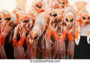 Fresh crawfish in a market