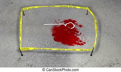 """""""Fresh Crime scene. Do not cross. Spot of a blood"""""""