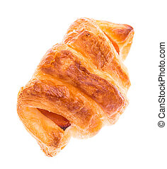 fresh croissant with ham on white background